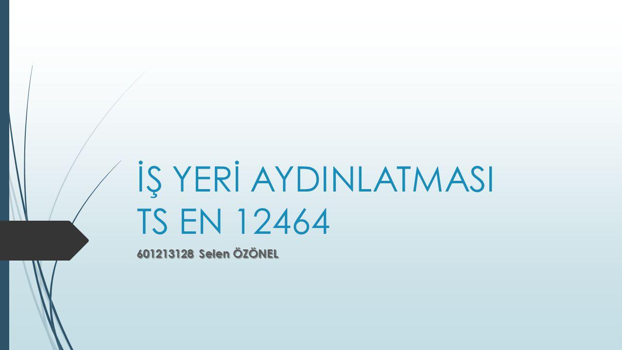 İŞ YERİ AYDINLATMASI TS EN 12464 601213128 Selen ÖZÖNEL