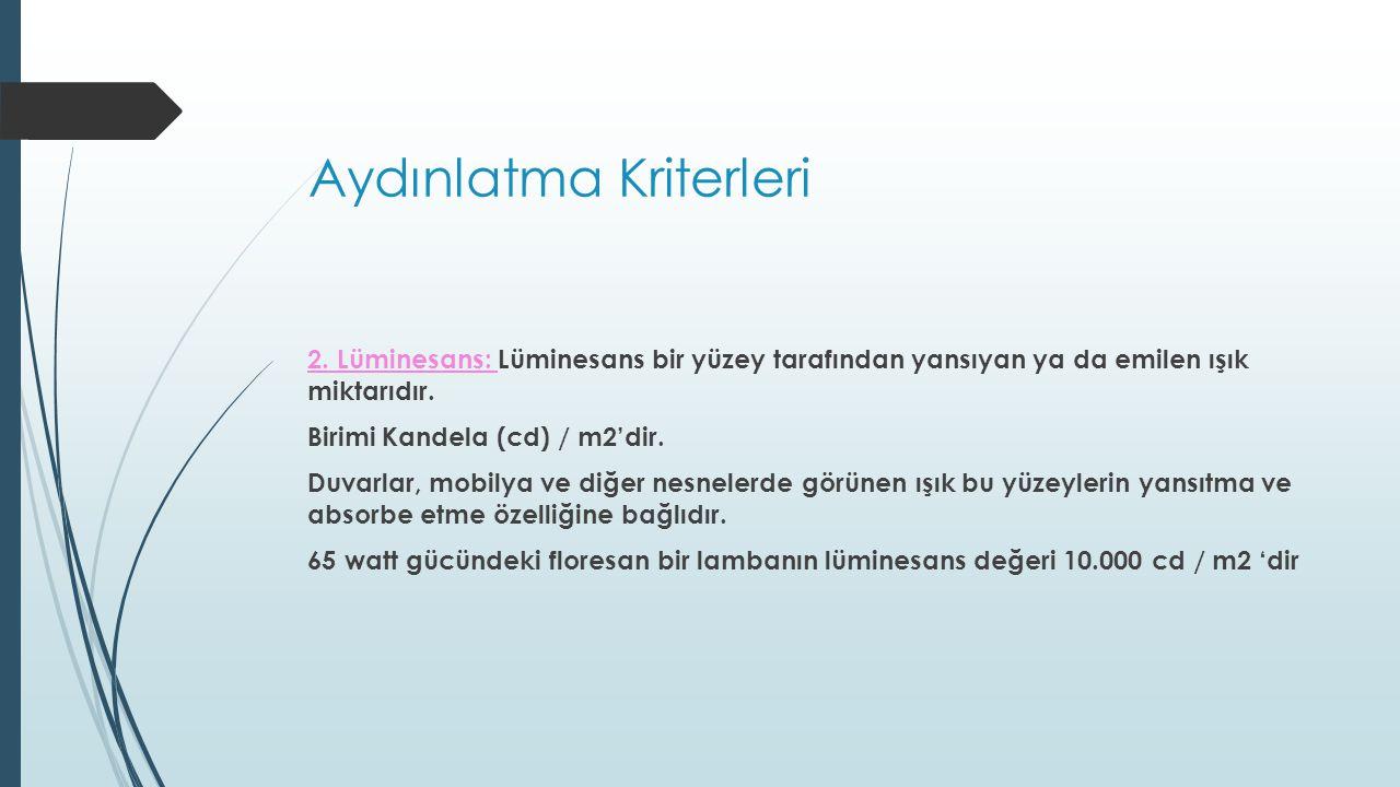 Aydınlatma Kriterleri 8.