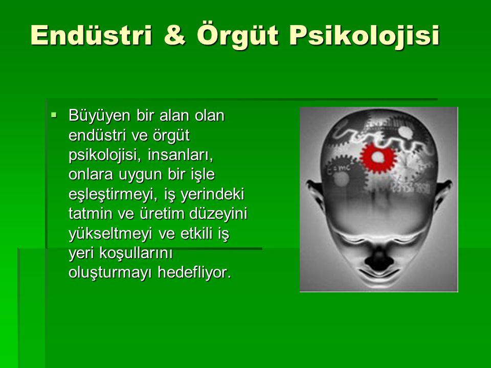 Endüstri & Örgüt Psikolojisi  Büyüyen bir alan olan endüstri ve örgüt psikolojisi, insanları, onlara uygun bir işle eşleştirmeyi, iş yerindeki tatmin