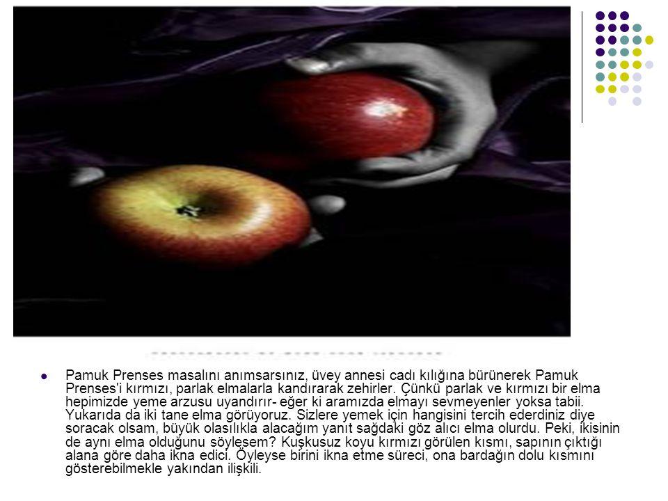 Pamuk Prenses masalını anımsarsınız, üvey annesi cadı kılığına bürünerek Pamuk Prenses'i kırmızı, parlak elmalarla kandırarak zehirler. Çünkü parlak v