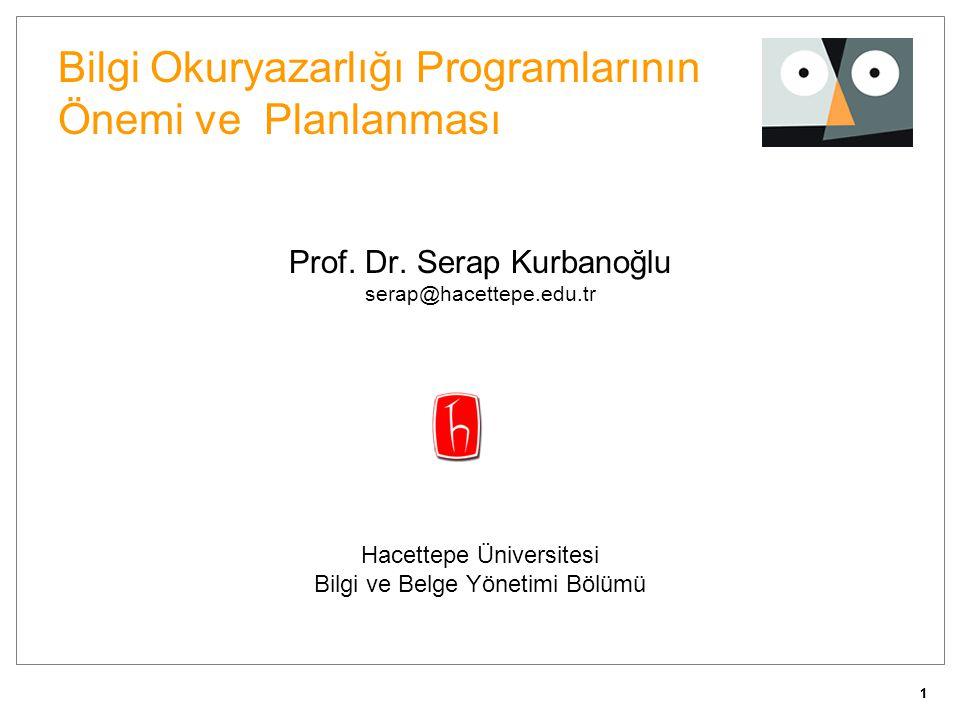 11 Bilgi Okuryazarlığı Programlarının Önemi ve Planlanması Prof. Dr. Serap Kurbanoğlu serap@hacettepe.edu.tr Hacettepe Üniversitesi Bilgi ve Belge Yön