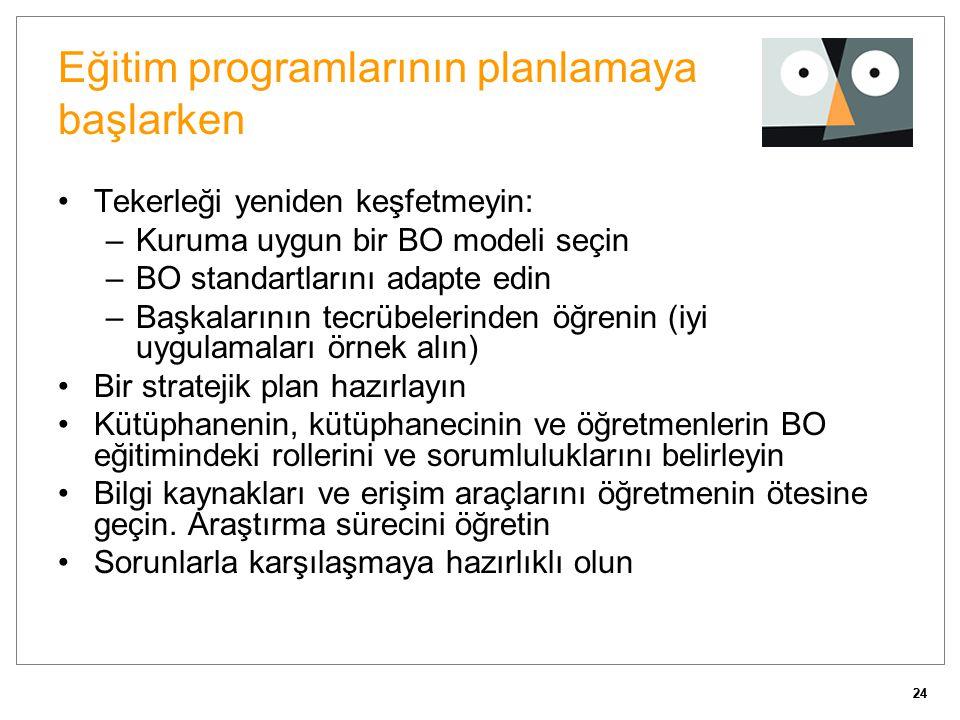 24 Eğitim programlarının planlamaya başlarken Tekerleği yeniden keşfetmeyin: –Kuruma uygun bir BO modeli seçin –BO standartlarını adapte edin –Başkala
