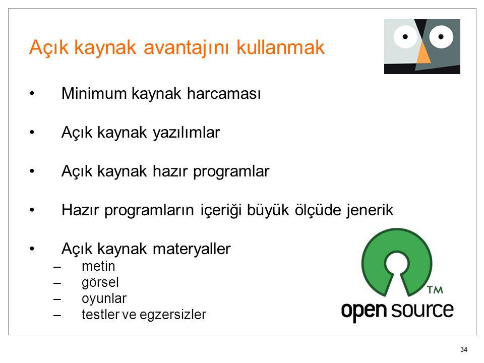 34 Açık kaynak avantajını kullanmak Minimum kaynak harcaması Açık kaynak yazılımlar Açık kaynak hazır programlar Hazır programların içeriği büyük ölçü