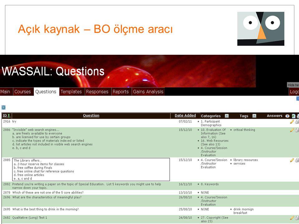 44 Açık kaynak – BO ölçme aracı