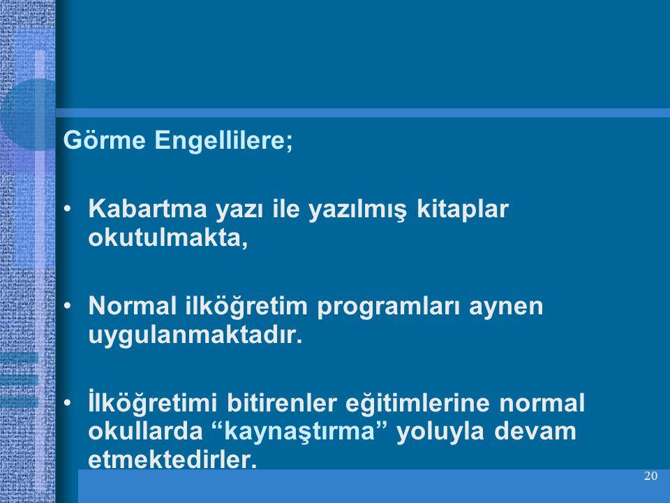 20 Görme Engellilere; Kabartma yazı ile yazılmış kitaplar okutulmakta, Normal ilköğretim programları aynen uygulanmaktadır.