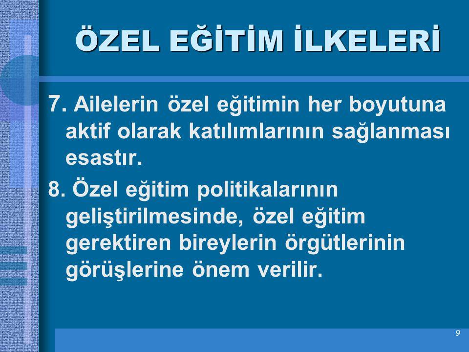 9 ÖZEL EĞİTİM İLKELERİ 7.