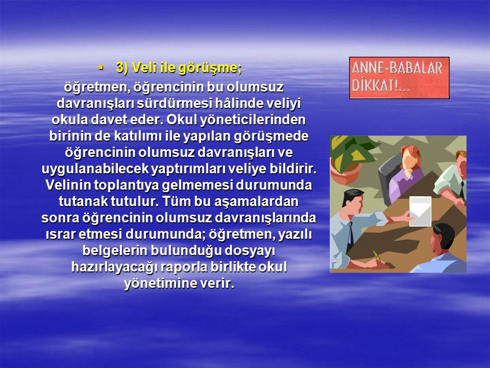  3) Veli ile görüşme; öğretmen, öğrencinin bu olumsuz davranışları sürdürmesi hâlinde veliyi okula davet eder.