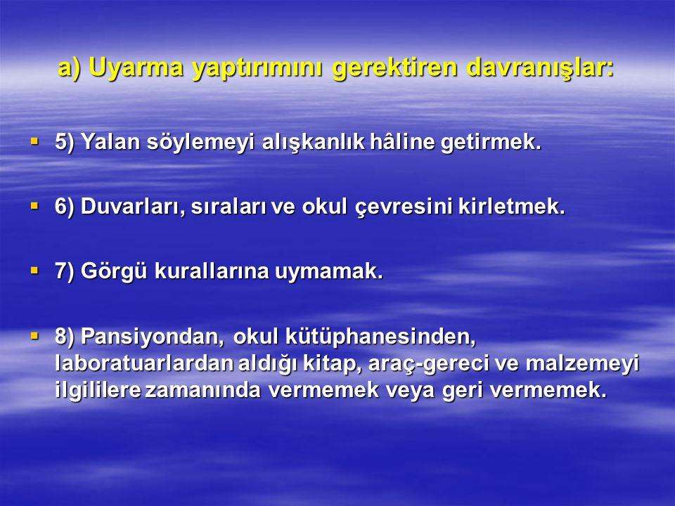 a) Uyarma yaptırımını gerektiren davranışlar:  5) Yalan söylemeyi alışkanlık hâline getirmek.