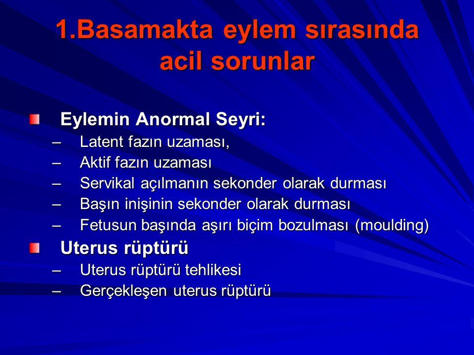 1.Basamakta eylem sırasında acil sorunlar Eylemin Anormal Seyri: –Latent fazın uzaması, –Aktif fazın uzaması –Servikal açılmanın sekonder olarak durma