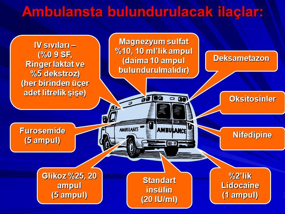 Ambulansta bulundurulacak ilaçlar: Deksametazon Oksitosinler Nifedipine %2'lik Lidocaine (1 ampul) Standart insülin (20 IU/ml) Glikoz %25, 20 ampul (5