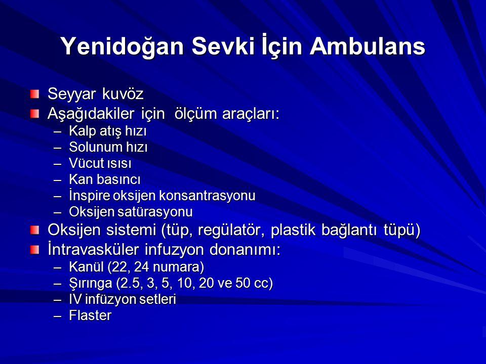 Yenidoğan Sevki İçin Ambulans Seyyar kuvöz Aşağıdakiler için ölçüm araçları: –Kalp atış hızı –Solunum hızı –Vücut ısısı –Kan basıncı –İnspire oksijen
