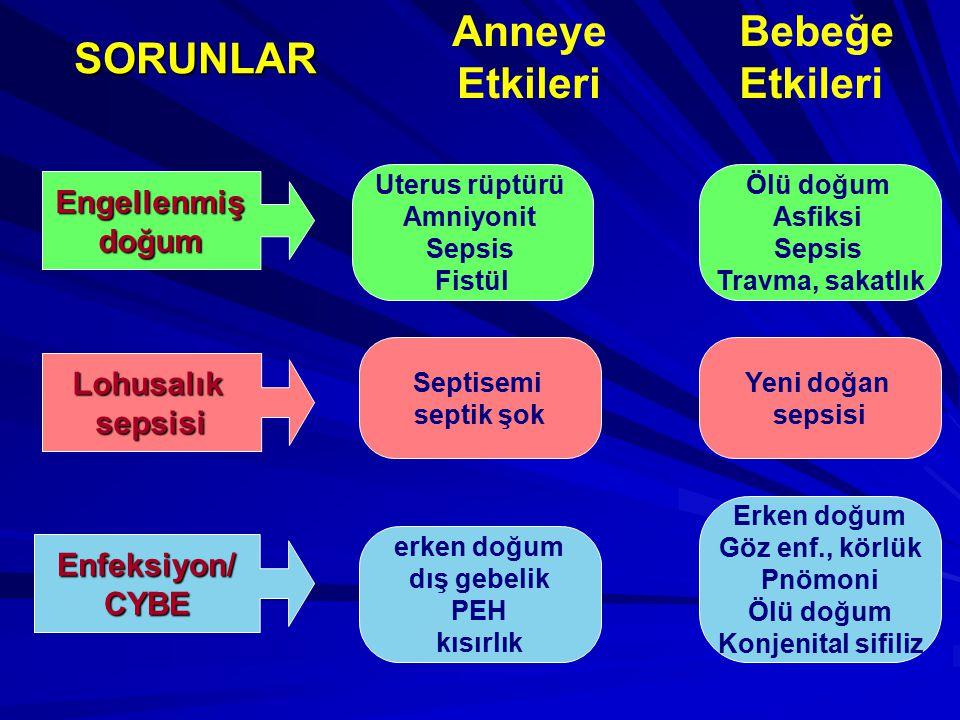 Engellenmişdoğum Lohusalıksepsisi Uterus rüptürü Amniyonit Sepsis Fistül Enfeksiyon/CYBE Ölü doğum Asfiksi Sepsis Travma, sakatlık Septisemi septik şo