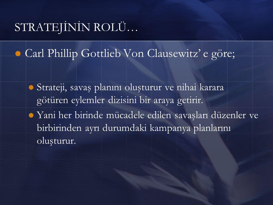 STRATEJİNİN ROLÜ… Carl Phillip Gottlieb Von Clausewitz' e göre; Strateji, savaş planını oluşturur ve nihai karara götüren eylemler dizisini bir araya getirir.