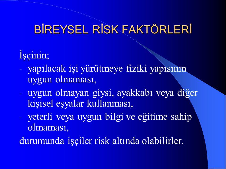 4. İŞİN GEREKLERİ Aşağıda belirtilen çalışma şekillerinden bir veya daha fazlasını gerektiren işler sırt ve bel incinmesi riski oluşturabilir; - özell