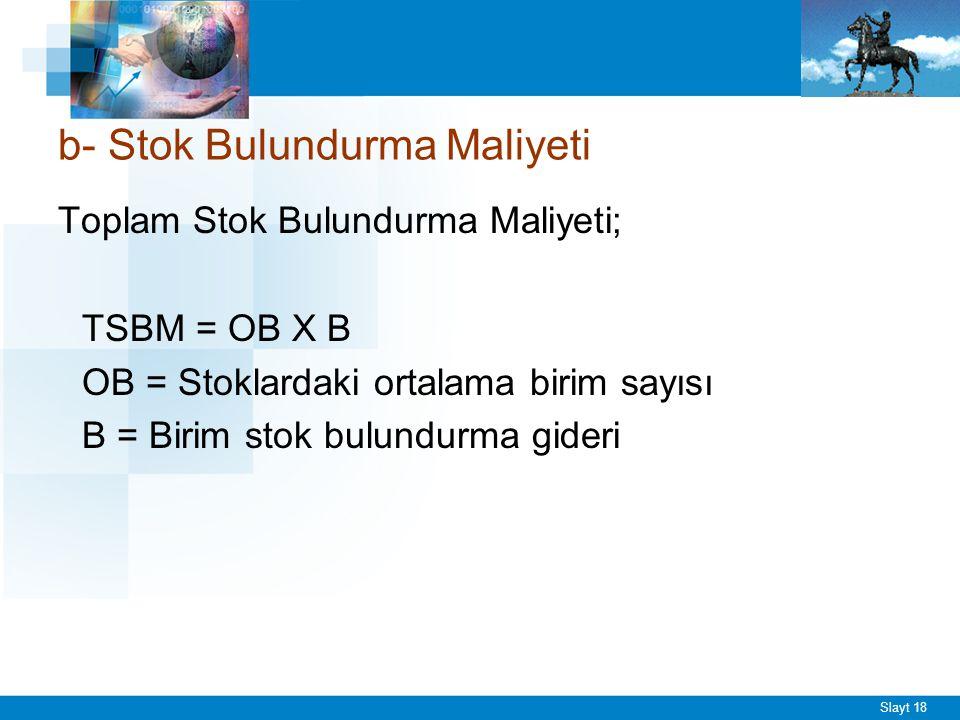 Slayt 18 Toplam Stok Bulundurma Maliyeti; TSBM = OB X B OB = Stoklardaki ortalama birim sayısı B = Birim stok bulundurma gideri b- Stok Bulundurma Mal