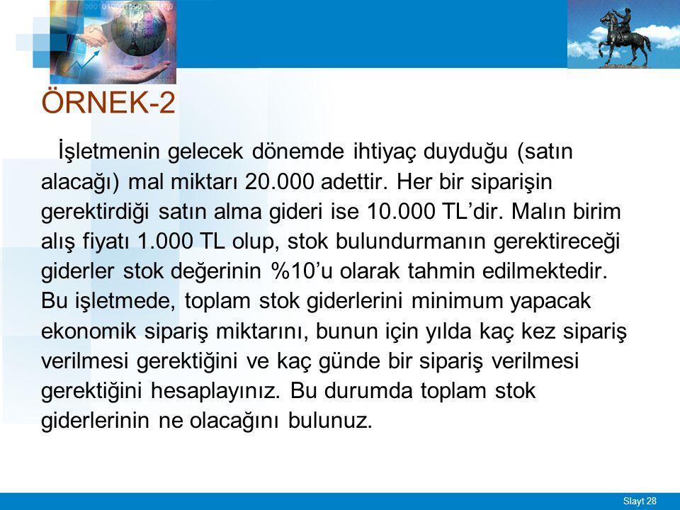 Slayt 28 ÖRNEK-2 İşletmenin gelecek dönemde ihtiyaç duyduğu (satın alacağı) mal miktarı 20.000 adettir. Her bir siparişin gerektirdiği satın alma gide