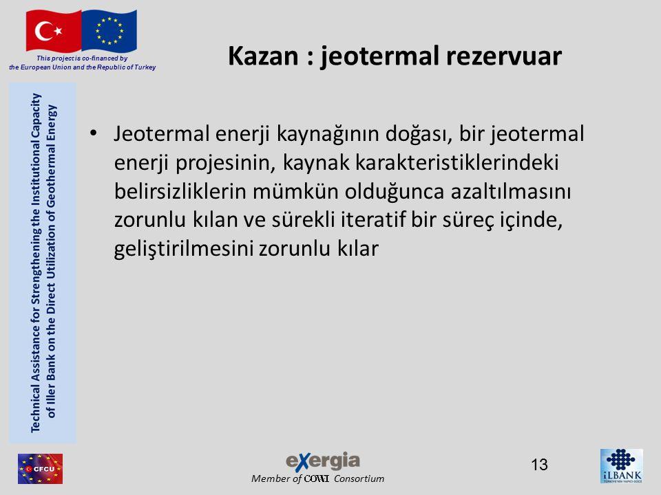 Member of Consortium This project is co-financed by the European Union and the Republic of Turkey Kazan : jeotermal rezervuar Jeotermal enerji kaynağının doğası, bir jeotermal enerji projesinin, kaynak karakteristiklerindeki belirsizliklerin mümkün olduğunca azaltılmasını zorunlu kılan ve sürekli iteratif bir süreç içinde, geliştirilmesini zorunlu kılar 13