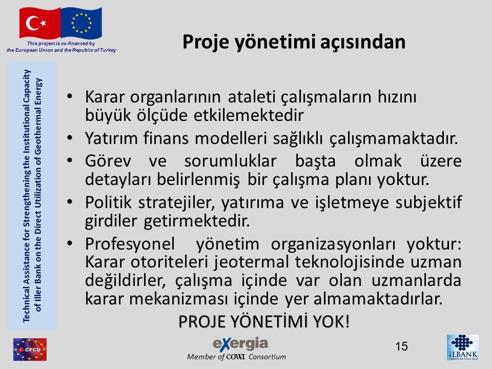 Member of Consortium This project is co-financed by the European Union and the Republic of Turkey Proje yönetimi açısından Karar organlarının ataleti çalışmaların hızını büyük ölçüde etkilemektedir Yatırım finans modelleri sağlıklı çalışmamaktadır.
