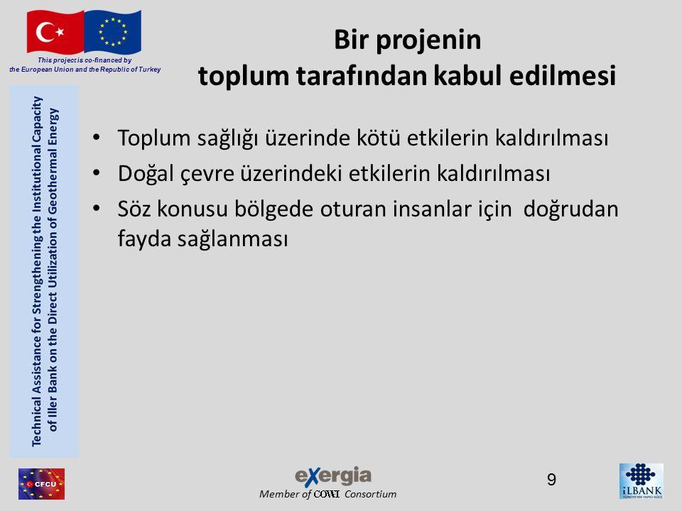 Member of Consortium This project is co-financed by the European Union and the Republic of Turkey Bir projenin toplum tarafından kabul edilmesi Toplum sağlığı üzerinde kötü etkilerin kaldırılması Doğal çevre üzerindeki etkilerin kaldırılması Söz konusu bölgede oturan insanlar için doğrudan fayda sağlanması 9