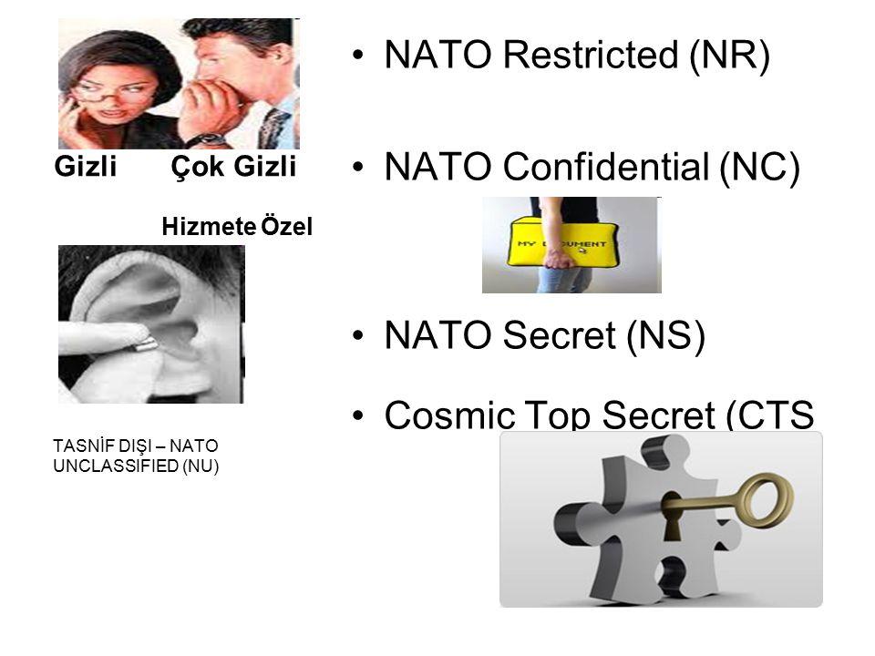 Gizli Çok Gizli Hizmete Özel NATO Restricted (NR) NATO Confidential (NC) NATO Secret (NS) Cosmic Top Secret (CTS TASNİF DIŞI – NATO UNCLASSIFIED (NU)