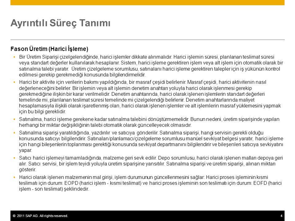 ©2011 SAP AG. All rights reserved.4 Ayrıntılı Süreç Tanımı Fason Üretim (Harici İşleme)  Bir Üretim Siparişi çizelgelendiğinde, harici işlemler dikka