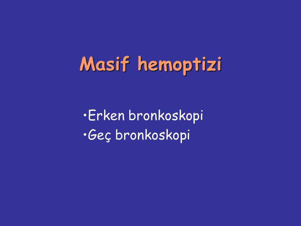 Masif hemoptizi Erken bronkoskopi Geç bronkoskopi