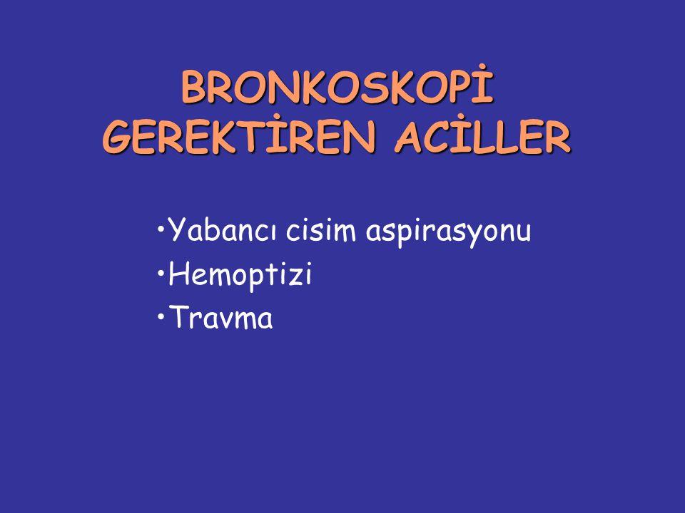BRONKOSKOPİ GEREKTİREN ACİLLER Yabancı cisim aspirasyonu Hemoptizi Travma