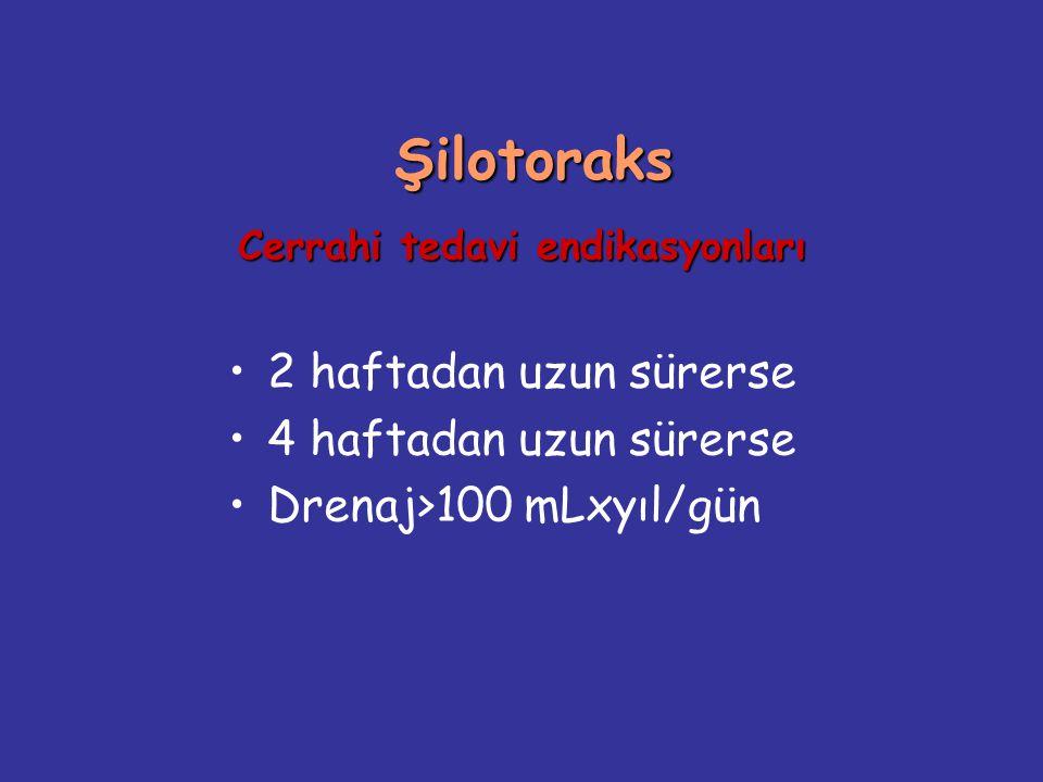 Şilotoraks Cerrahi tedavi endikasyonları Şilotoraks Cerrahi tedavi endikasyonları 2 haftadan uzun sürerse 4 haftadan uzun sürerse Drenaj>100 mLxyıl/gü