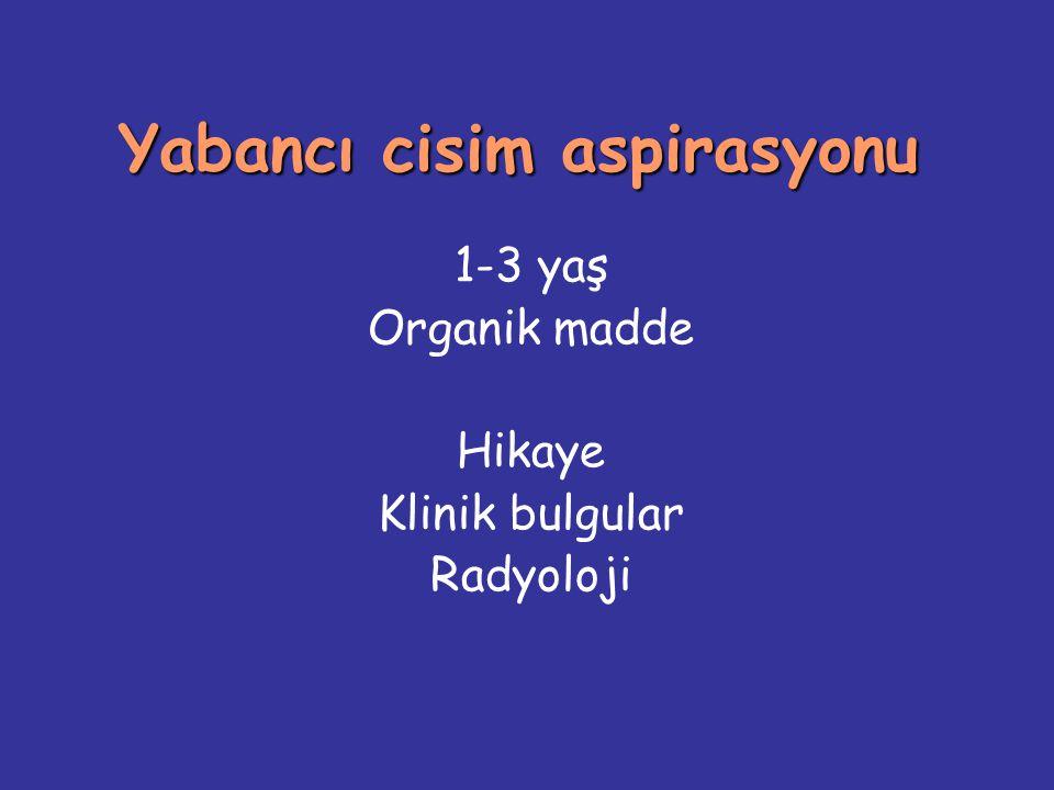 Yabancı cisim aspirasyonu 1-3 yaş Organik madde Hikaye Klinik bulgular Radyoloji
