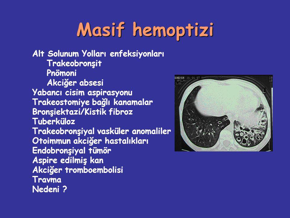 Masif hemoptizi Rijid bronkoskopi –Hava yolu stabilizasyonu sağlıyor –Aspirasyon –Pıhtı ve yabancı cisim çıkarılması Fleksibl bronkoskopi –Distal bronşlar değerlendirilebilir