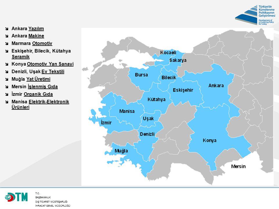 T.C. BAŞBAKANLIK DIŞ TİCARET MÜSTEŞARLIĞI İHRACAT GENEL MÜDÜRLÜĞÜ 35  Ankara Yazılım  Ankara Makine  Marmara Otomotiv  Eskişehir, Bilecik, Kütahya