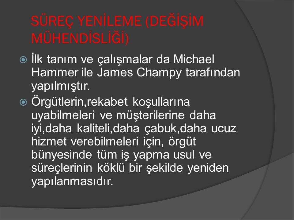 SÜREÇ YENİLEME (DEĞİŞİM MÜHENDİSLİĞİ)  İlk tanım ve çalışmalar da Michael Hammer ile James Champy tarafından yapılmıştır.  Örgütlerin,rekabet koşull