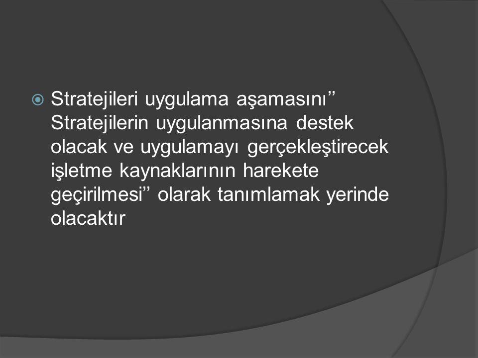  Stratejileri uygulama aşamasını'' Stratejilerin uygulanmasına destek olacak ve uygulamayı gerçekleştirecek işletme kaynaklarının harekete geçirilmes