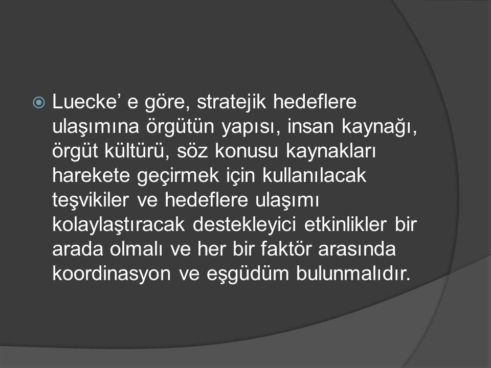  Luecke' e göre, stratejik hedeflere ulaşımına örgütün yapısı, insan kaynağı, örgüt kültürü, söz konusu kaynakları harekete geçirmek için kullanılaca
