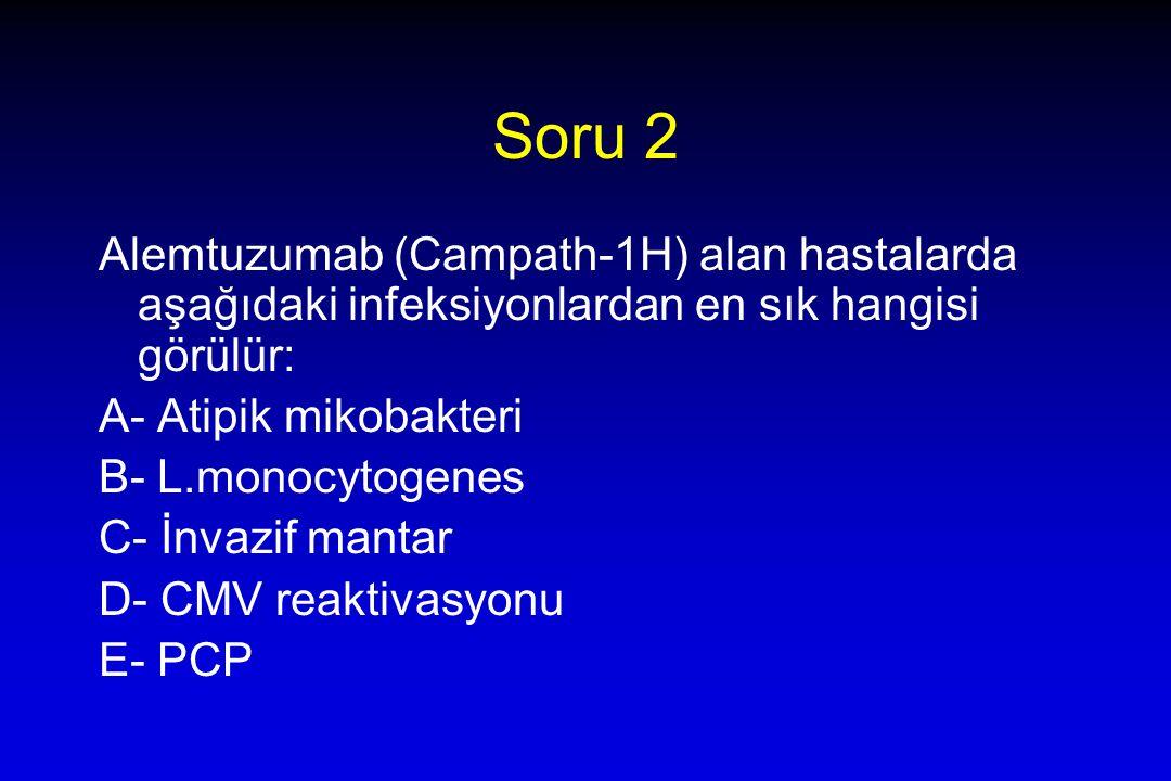 Soru 2 Alemtuzumab (Campath-1H) alan hastalarda aşağıdaki infeksiyonlardan en sık hangisi görülür: A- Atipik mikobakteri B- L.monocytogenes C- İnvazif mantar D- CMV reaktivasyonu E- PCP