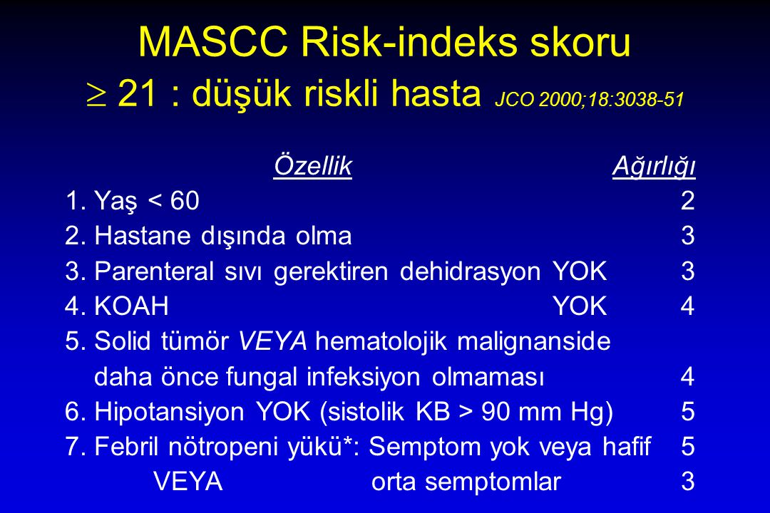 MASCC Risk-indeks skoru  21 : düşük riskli hasta JCO 2000;18:3038-51 Özellik Ağırlığı 1.