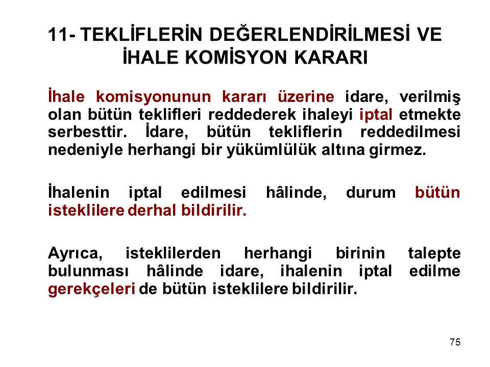 75 11- TEKLİFLERİN DEĞERLENDİRİLMESİ VE İHALE KOMİSYON KARARI İhale komisyonunun kararı üzerine idare, verilmiş olan bütün teklifleri reddederek ihale