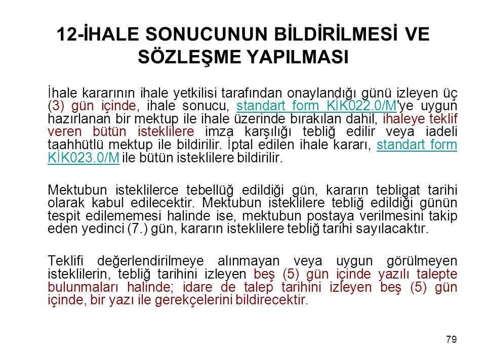 79 12-İHALE SONUCUNUN BİLDİRİLMESİ VE SÖZLEŞME YAPILMASI İhale kararının ihale yetkilisi tarafından onaylandığı günü izleyen üç (3) gün içinde, ihale