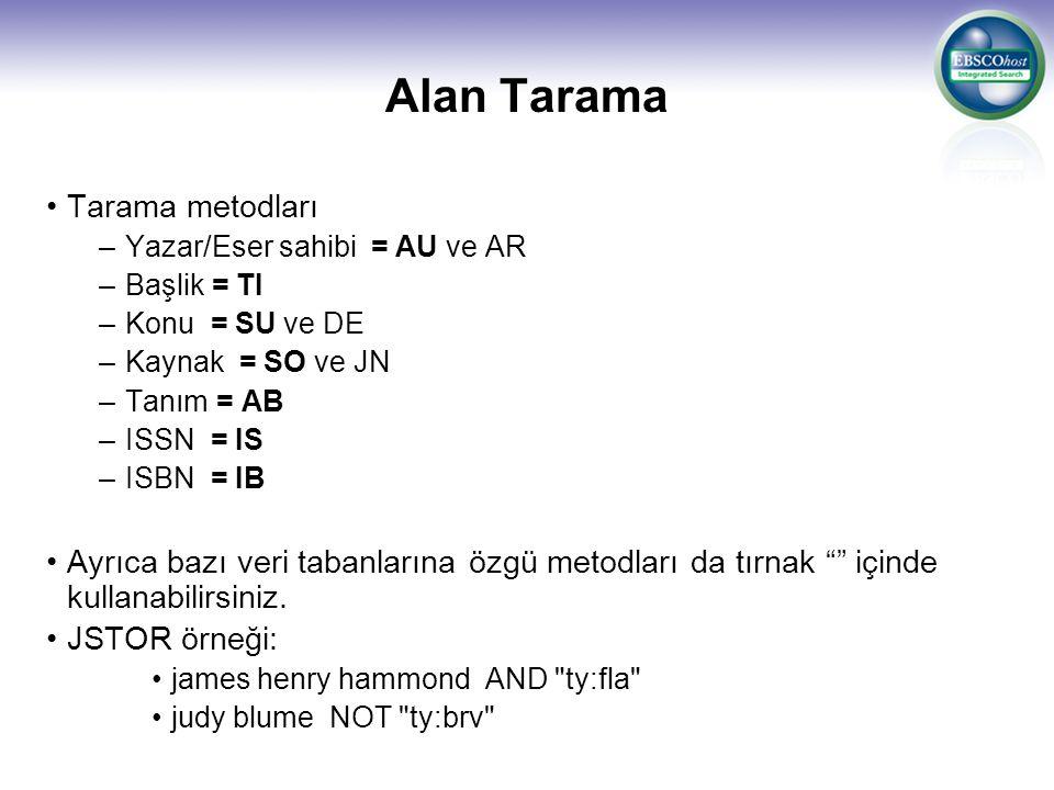 Alan Tarama Tarama metodları –Yazar/Eser sahibi = AU ve AR –Başlik = TI –Konu = SU ve DE –Kaynak = SO ve JN –Tanım = AB –ISSN = IS –ISBN = IB Ayrıca bazı veri tabanlarına özgü metodları da tırnak içinde kullanabilirsiniz.