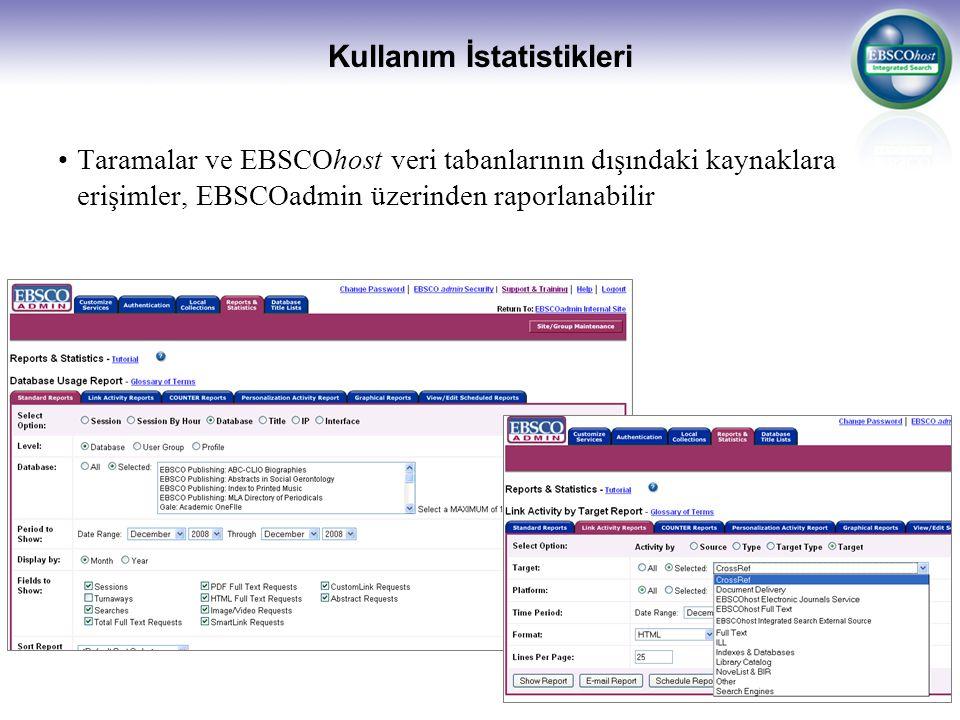 Kullanım İstatistikleri Taramalar ve EBSCOhost veri tabanlarının dışındaki kaynaklara erişimler, EBSCOadmin üzerinden raporlanabilir