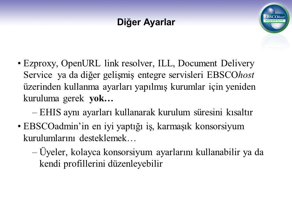 Diğer Ayarlar Ezproxy, OpenURL link resolver, ILL, Document Delivery Service ya da diğer gelişmiş entegre servisleri EBSCOhost üzerinden kullanma ayar