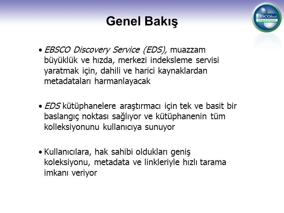 Genel Bakış EBSCO Discovery Service (EDS), muazzam büyüklük ve hızda, merkezi indeksleme servisi yaratmak için, dahili ve harici kaynaklardan metadata