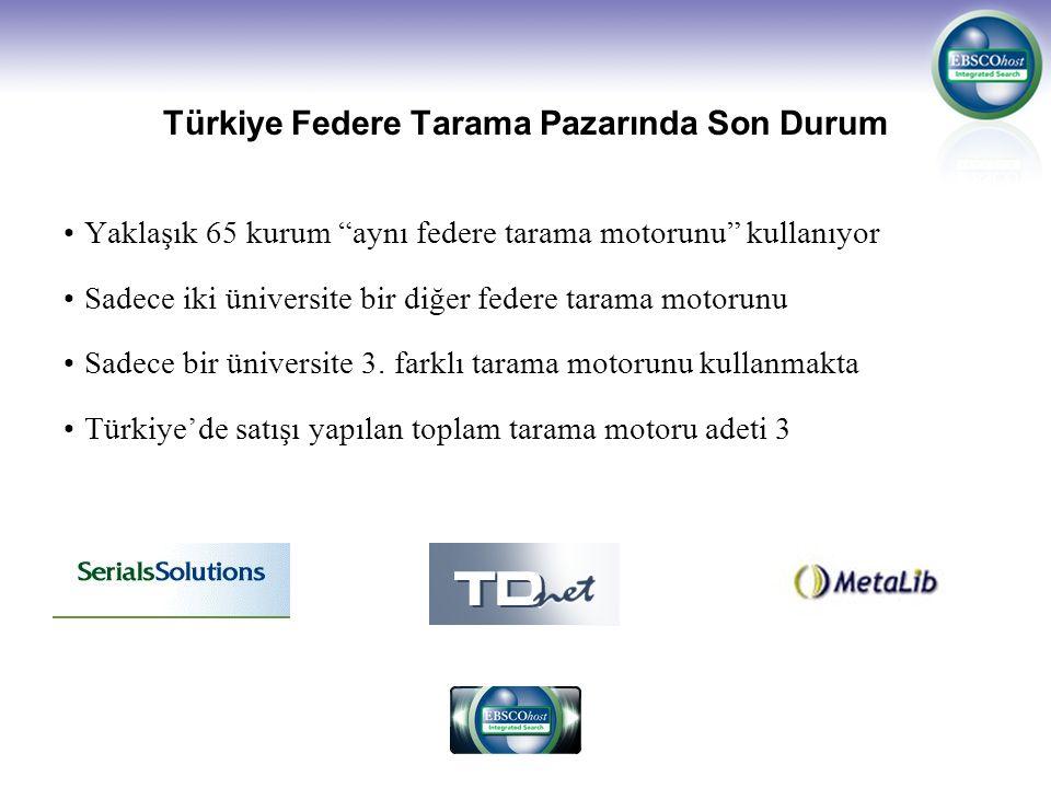 Türkiye Federe Tarama Pazarında Son Durum Yaklaşık 65 kurum aynı federe tarama motorunu kullanıyor Sadece iki üniversite bir diğer federe tarama motorunu Sadece bir üniversite 3.