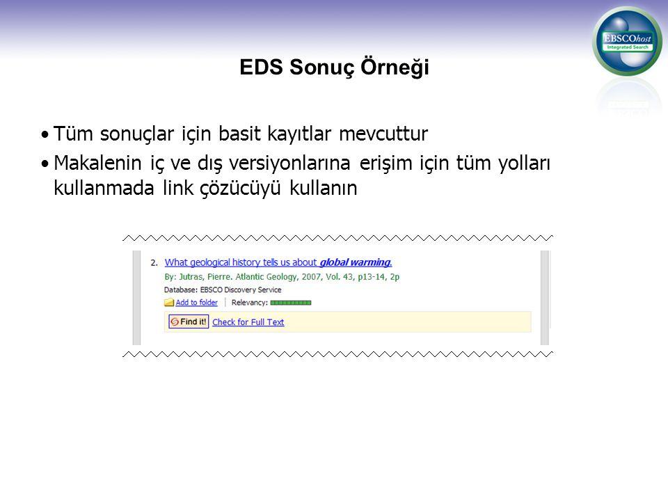 EDS Sonuç Örneği Tüm sonuçlar için basit kayıtlar mevcuttur Makalenin iç ve dış versiyonlarına erişim için tüm yolları kullanmada link çözücüyü kullan