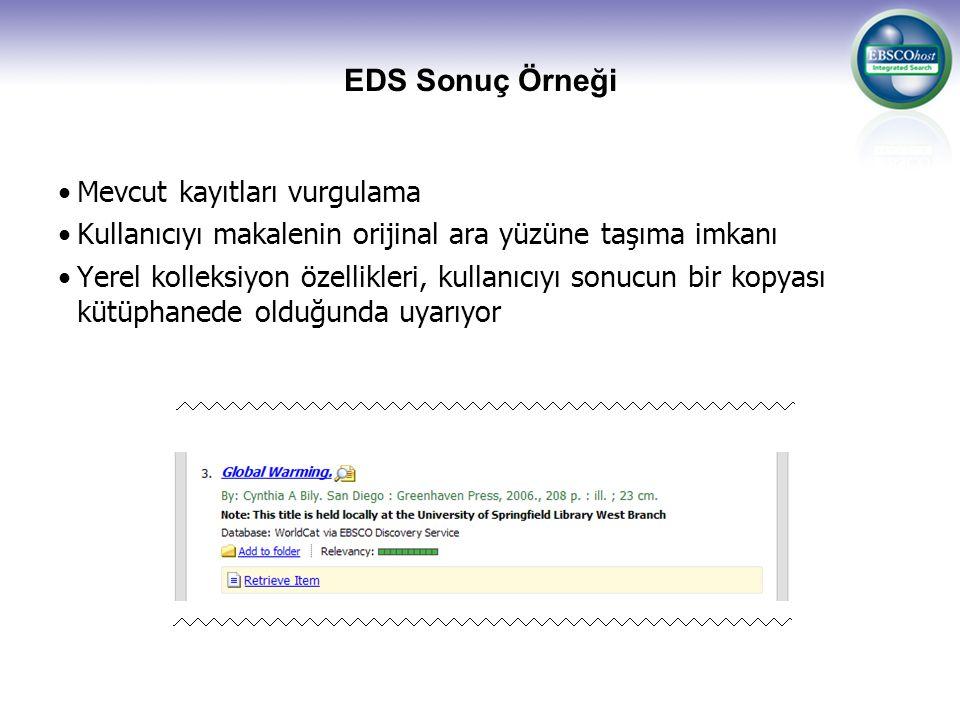 EDS Sonuç Örneği Mevcut kayıtları vurgulama Kullanıcıyı makalenin orijinal ara yüzüne taşıma imkanı Yerel kolleksiyon özellikleri, kullanıcıyı sonucun