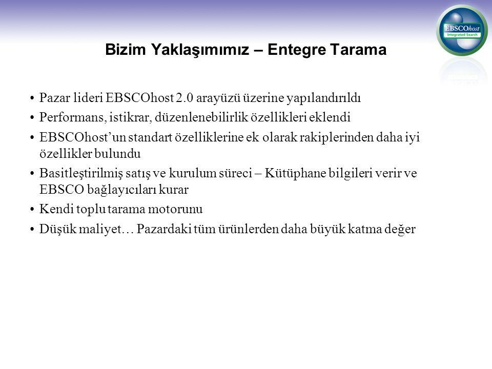 Üstün Kullanım Kolaylığı EBSCOhost, dünyanın en yaygın kullanılan veri tabanı araştırma platformudur EBSCOhost, Türkiye'deki mevcut tüm üniversitelerde kullanılan, tek veri tabanı araştırma platformudur Mevcut toplu tarama motorları son bir kaç yıldır Türkiye'de kullanılırken: –EBSCOhost son 10 yıldır Türkiye'de kullanılmaktadır –Araştırmacılar EBSCOhost tarama ara yüzüne, mevcut federe tarama motorlarına kıyasla daha alışkındır –Az bir eğitim ile maksimum kullanım kolaylığı söz konusu olacaktır
