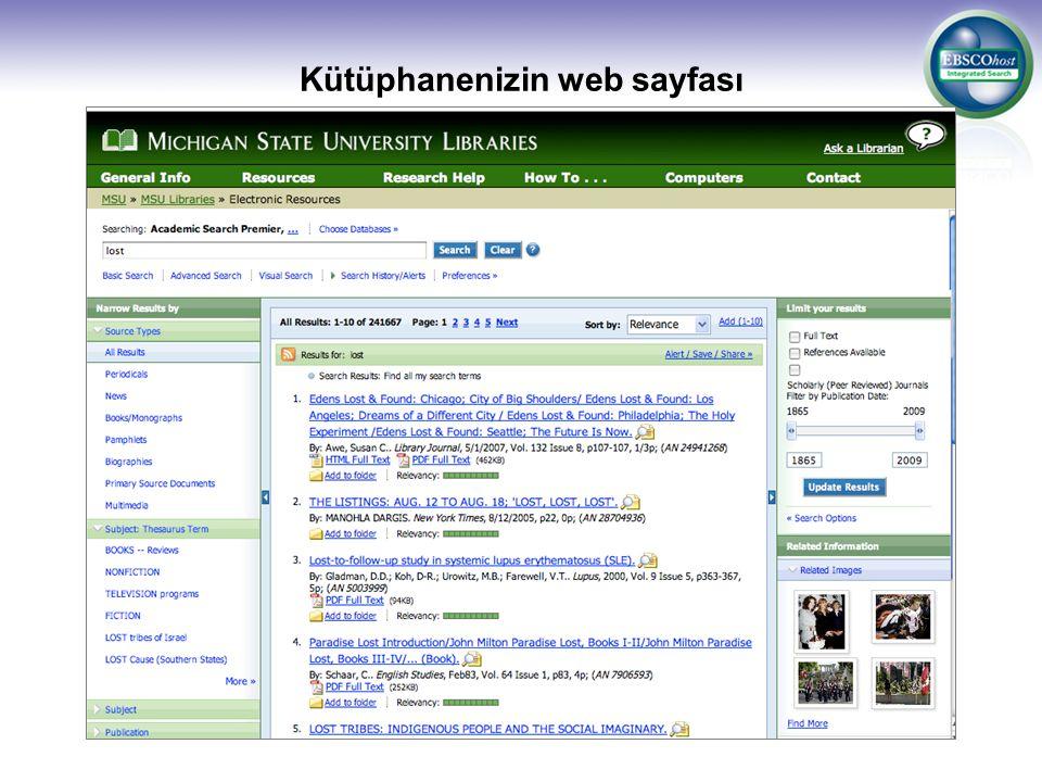Kütüphanenizin web sayfası