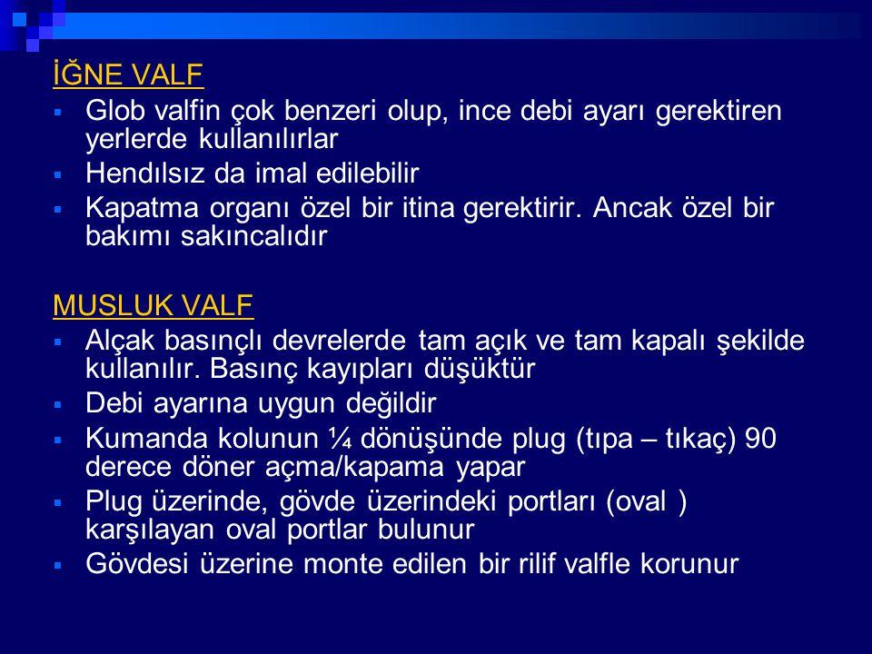 İĞNE VALF  Glob valfin çok benzeri olup, ince debi ayarı gerektiren yerlerde kullanılırlar  Hendılsız da imal edilebilir  Kapatma organı özel bir i