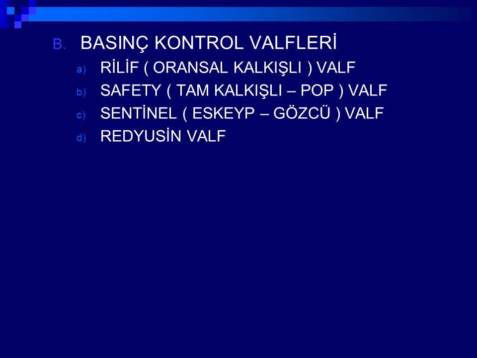 B. BASINÇ KONTROL VALFLERİ a) RİLİF ( ORANSAL KALKIŞLI ) VALF b) SAFETY ( TAM KALKIŞLI – POP ) VALF c) SENTİNEL ( ESKEYP – GÖZCÜ ) VALF d) REDYUSİN VA