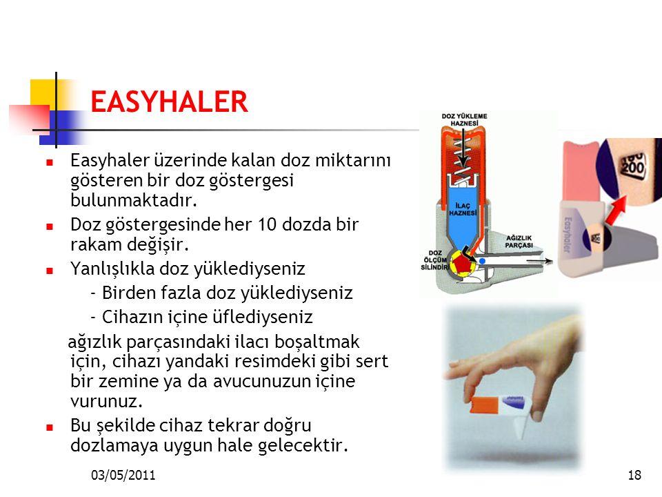 03/05/201118 EASYHALER Easyhaler üzerinde kalan doz miktarını gösteren bir doz göstergesi bulunmaktadır. Doz göstergesinde her 10 dozda bir rakam deği